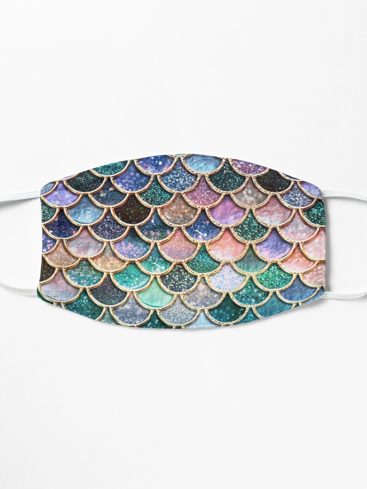 Alternate view of Teal, Silver and Pink Sparkle Faux Glitter Mermaid Scales Mask