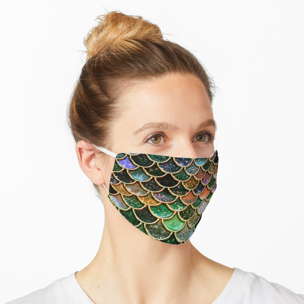 Green Sparkle Faux Glitter Mermaid Scales Mask
