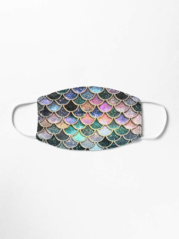 Alternate view of Silver and Metal Sparkle Faux Glitter Mermaid Scales Mask
