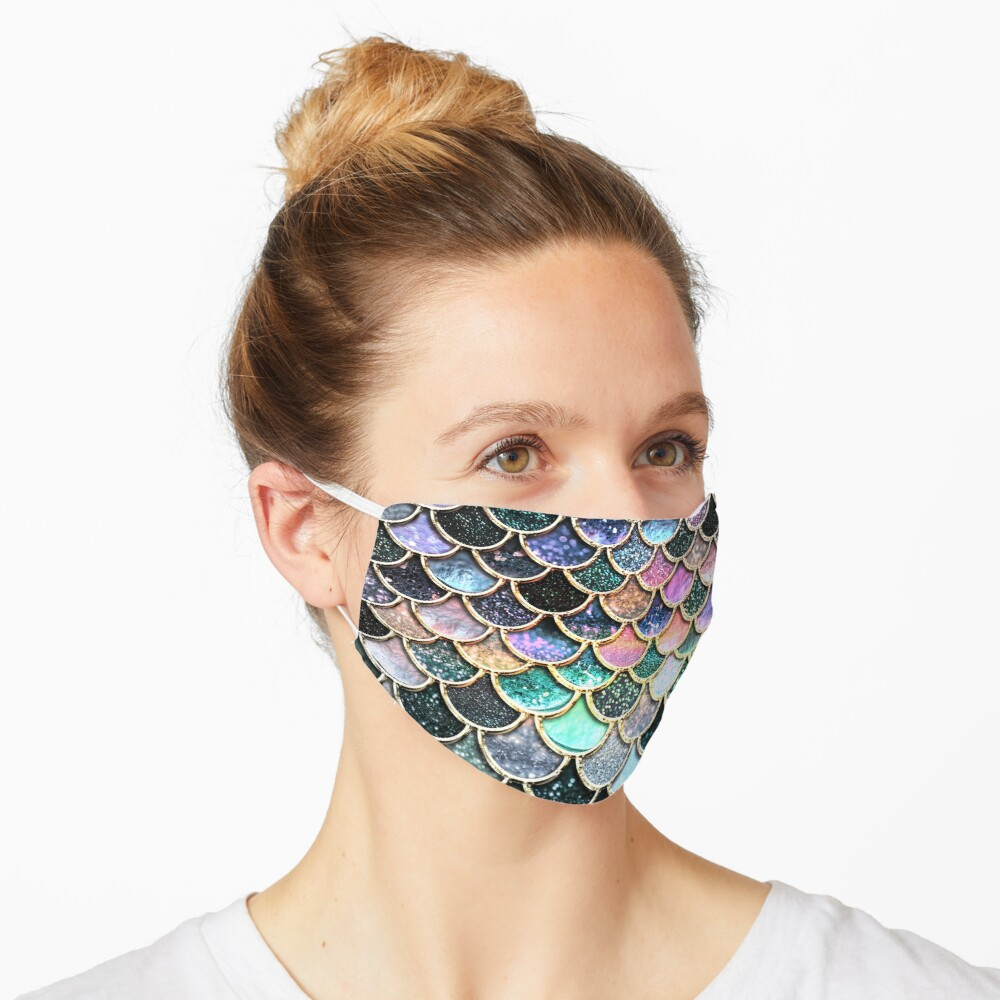 Silver and Metal Sparkle Faux Glitter Mermaid Scales Mask