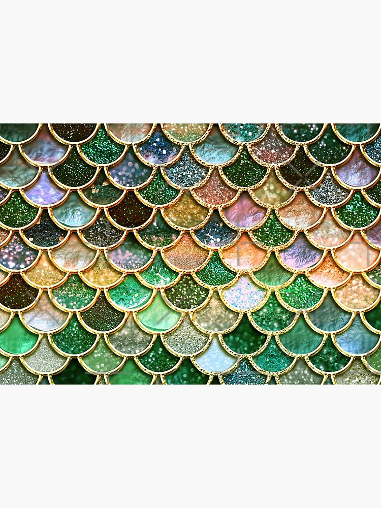 Green and Gold Spring Metal Sparkle Faux Glitter Mermaid Scales by UtArt