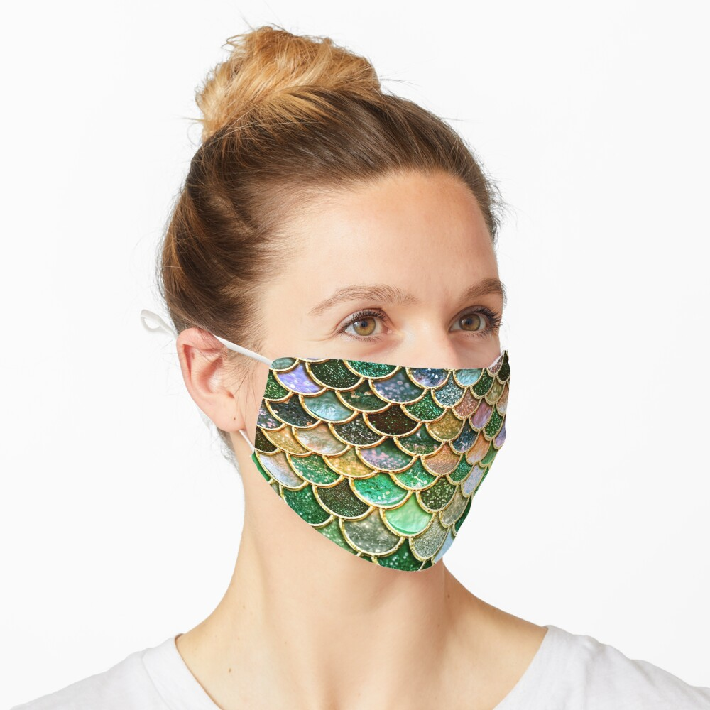 Green and Gold Spring Metal Sparkle Faux Glitter Mermaid Scales Mask