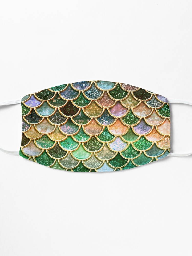 Alternate view of Green and Gold Spring Metal Sparkle Faux Glitter Mermaid Scales Mask