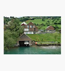 Boat house on the slope on Lake Lucerne Photographic Print