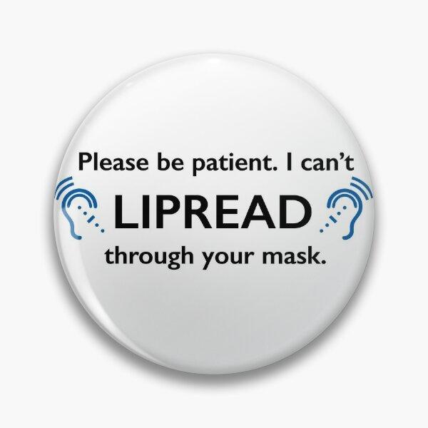 Symbole de langage des signes de coronavirus de masque de Lipread DEAF Badge