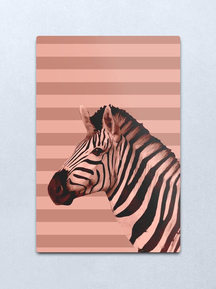 Alternate view of [Animals & Stripes] Peach zebra Metal Print