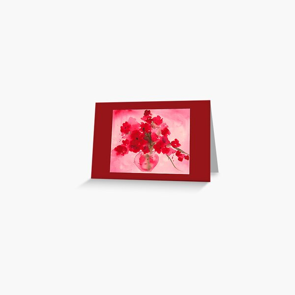 Red Flowers in a Clear Vase Greeting Card