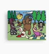 Teddy Bear And Bunny - Remote Control Canvas Print