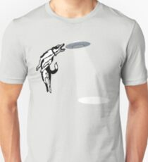 Banksy Style Dog Catching Frisbee (flying saucer) Unisex T-Shirt