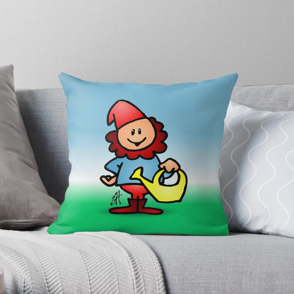 Gnome in the garden Throw Pillow