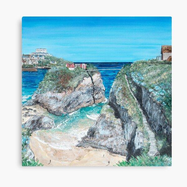Newquay The Island and Towan, Cornwall Art Canvas Print