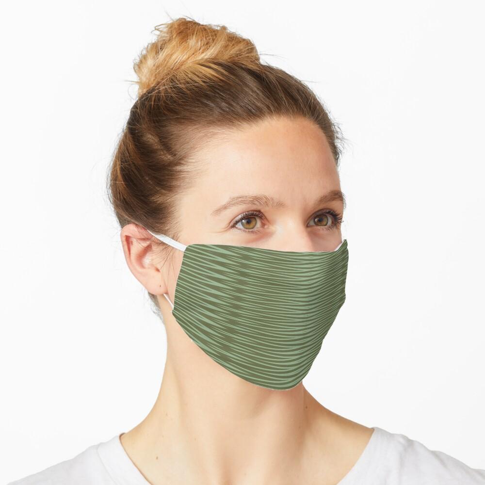 Olive Green Diamond Stripes Pattern Mask