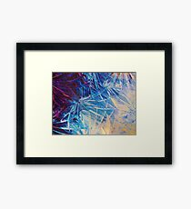 NIGHT FLOWERS - Beautiful Midnight Florals Feathers Eggplant Lilac Periwinkle Cream Modern Abstract Framed Print