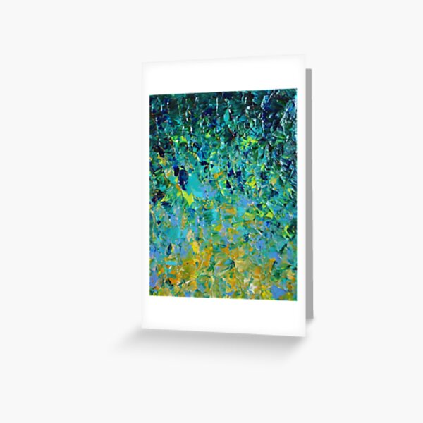 BEAUTY BENEATH THE SURFACE - Stunning Lake Ocean River Water Nature Green Blue Teal Yellow Aqua Abstract Greeting Card