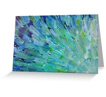 SEA SCALES - Beautiful BC Ocean Theme Peacock Feathers Mermaid Fins Waves Blue Teal Abstract Greeting Card