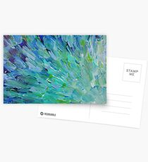 SEA SCALES - Beautiful BC Ocean Theme Peacock Feathers Mermaid Fins Waves Blue Teal Abstract Postkarten