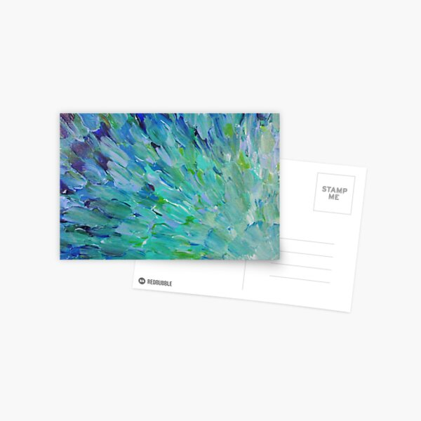 SEA SCALES - Beautiful BC Ocean Theme Peacock Feathers Mermaid Fins Waves Blue Teal Abstract Postcard