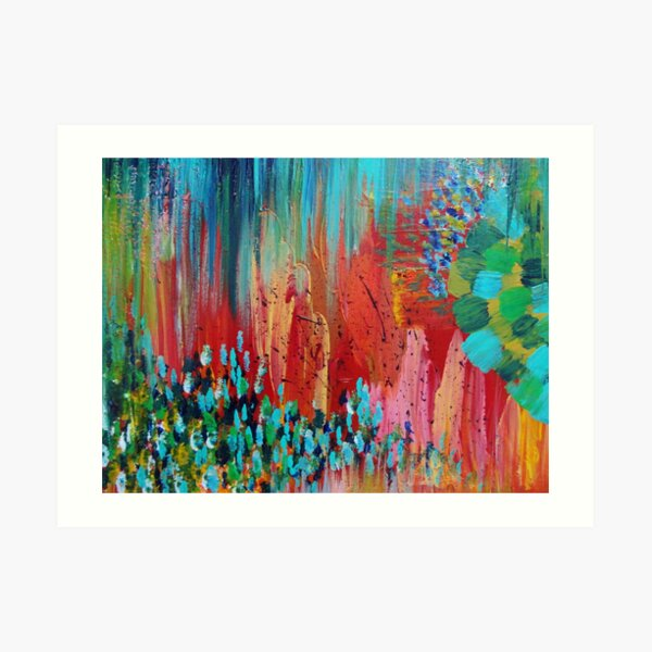 REVISIONED RETRO - Bright Bold Red Abstract Acrylic Colorful Painting 70s Twist Vintage Style Hip Art Print