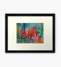 REVISIONED RETRO - Bright Bold Red Abstract Acrylic Colorful Painting 70s Twist Vintage Style Hip Framed Print