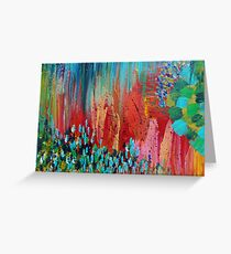REVISIONED RETRO - Bright Bold Red Abstract Acrylic Colorful Painting 70s Twist Vintage Style Hip Greeting Card