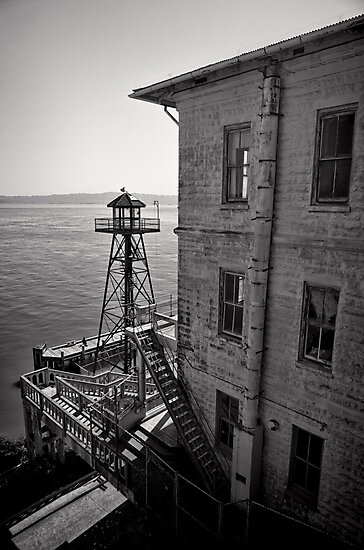 The Lonely Guard Tower - Alcatraz, San Francisco by Norman Repacholi