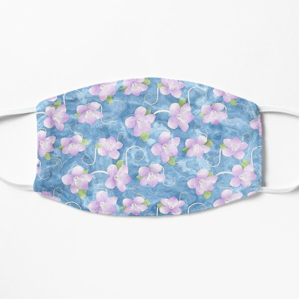 Pastel Pink Violets Floral Pattern on Blue Mask