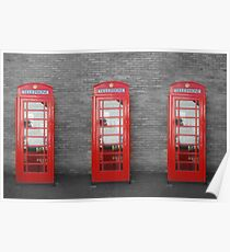 Trio of olde UK telephone boxes. Poster