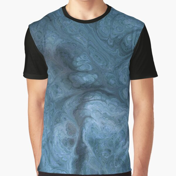 Marbled Blue Swirl and Black Texture Pattern Graphic T-Shirt