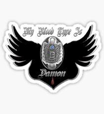 My Blood Type Is Damon Purple & Black VD Fan Logo Sticker
