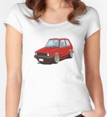 Cartoon MK1 Golf Women's Fitted Scoop T-Shirt