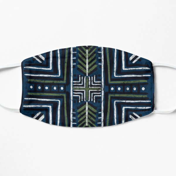 Mudcloth in Blue, Green and White Mask