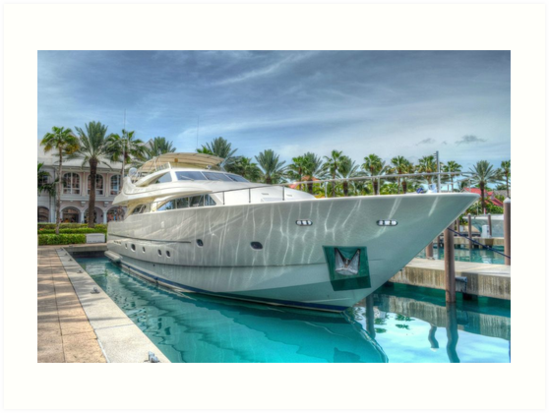Yacht docked at Atlantis Marina in Paradise Island, The Bahamas by Jeremy Lavender Photography