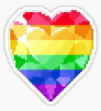 Pixel Pride Heart Gem - Rainbow Flag Sticker