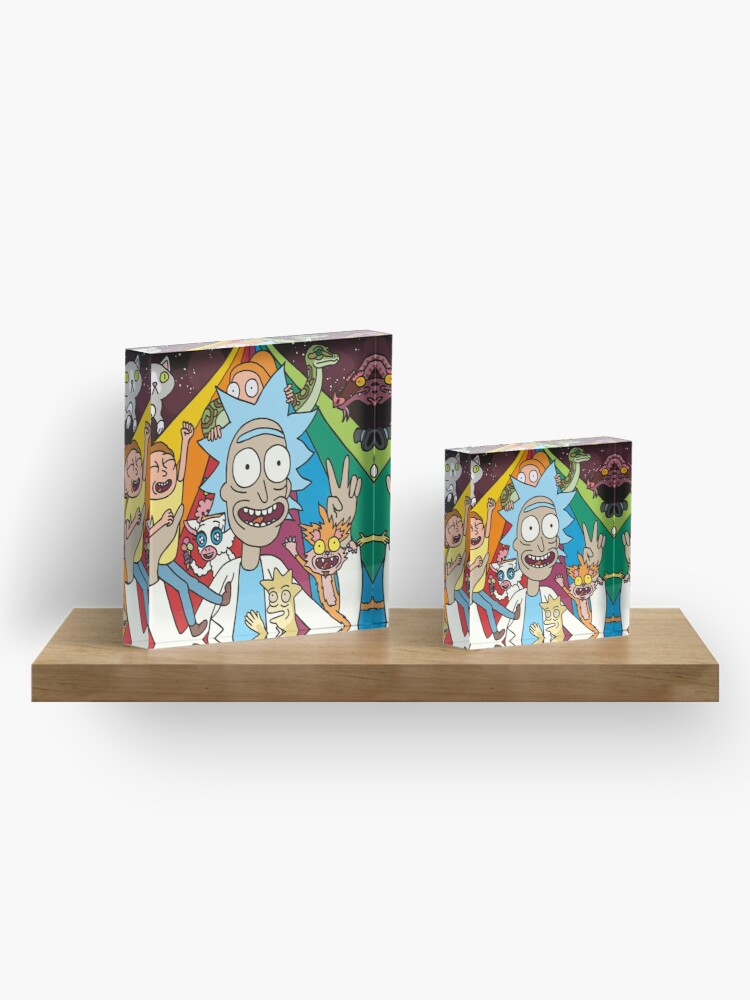 Alternate view of Rick and Morty Rainbow Road Acrylic Block