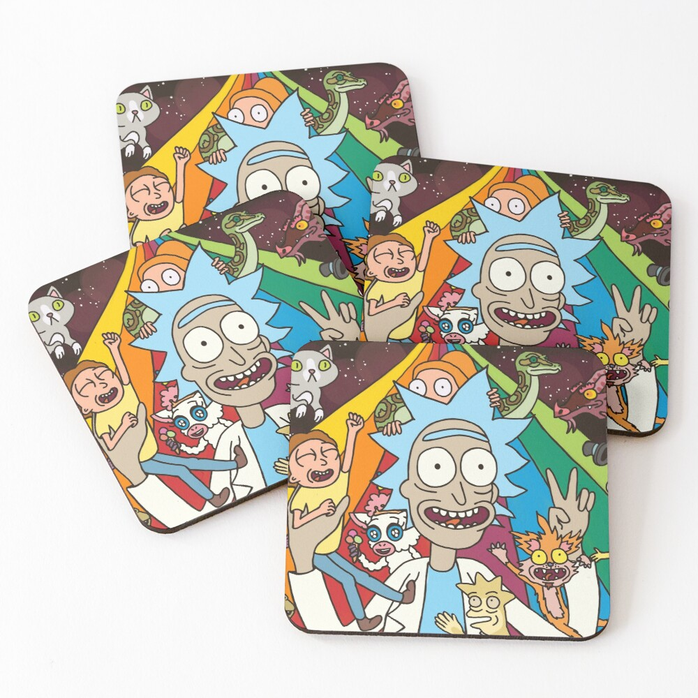 Rick and Morty Rainbow Road Coasters (Set of 4)