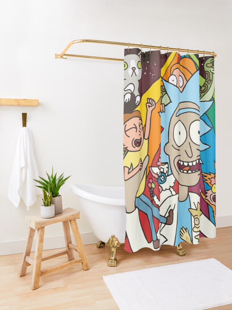 Alternate view of Rick and Morty Rainbow Road Shower Curtain