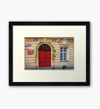 Praha: The Red Door Framed Print