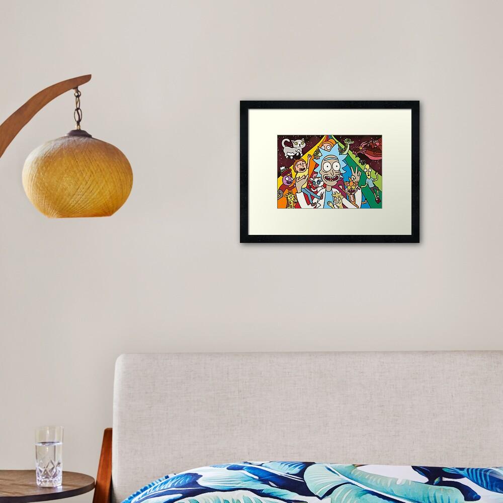 Rick and Morty Rainbow Road Framed Art Print