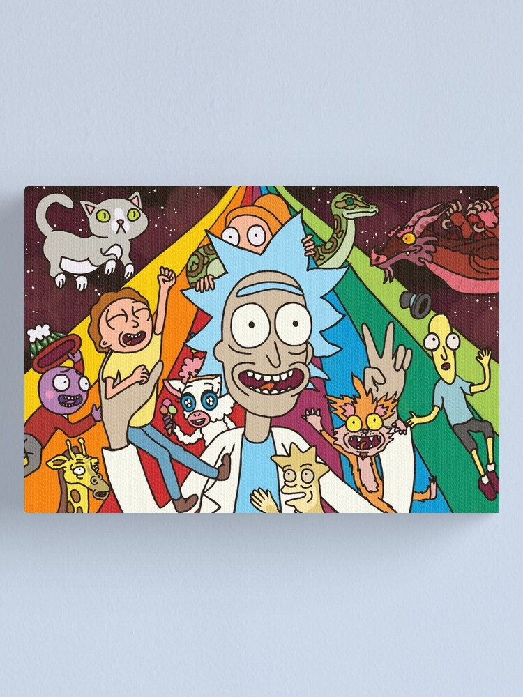 Alternate view of Rick and Morty Rainbow Road Canvas Print