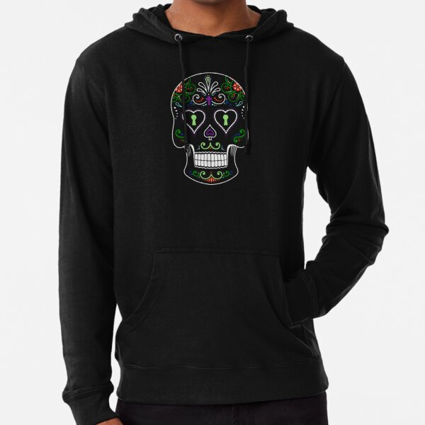 Mexican Calavera Skull Color - Day of the Dead Lightweight Hoodie