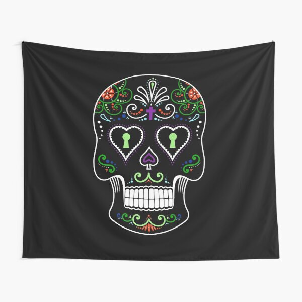 Mexican Calavera Skull Color - Day of the Dead Tapestry