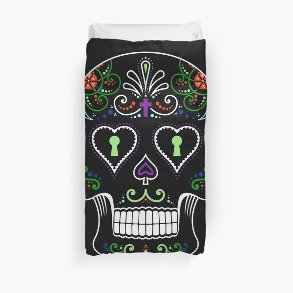 Mexican Calavera Skull Color - Day of the Dead Duvet Cover