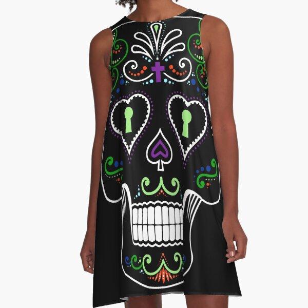 Mexican Calavera Skull Color - Day of the Dead A-Line Dress