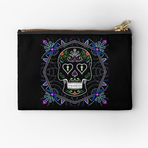 Mexican Calavera Skull Mandala - Day of the Dead Zipper Pouch