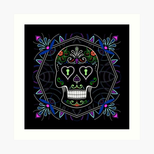 Mexican Calavera Skull Mandala - Day of the Dead Art Print