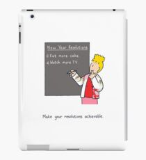 New Year resolution humor, cake and TV. iPad Case/Skin