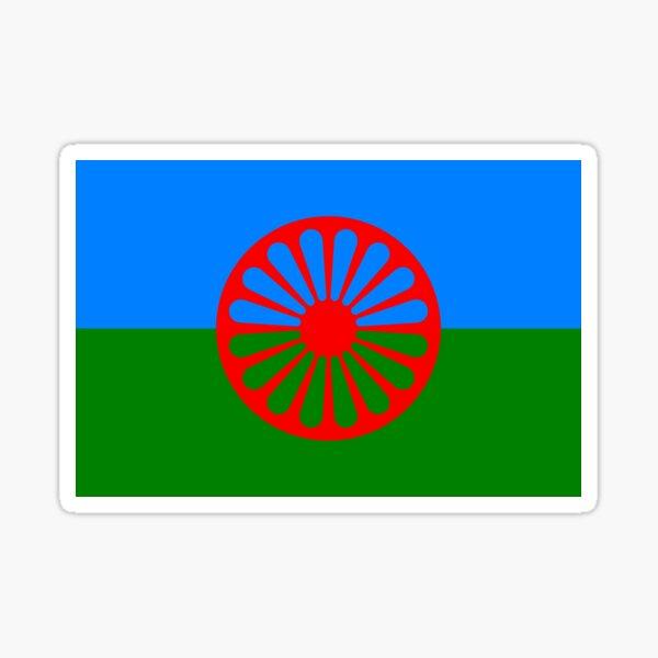 bandera romaní verde y azul Pegatina