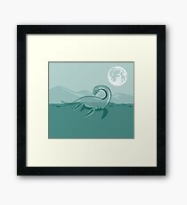 Loch Ness Monster Retro Framed Print