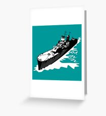 World War Two Battleship Warship Cruiser Retro Greeting Card