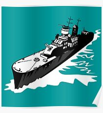 World War Two Battleship Warship Cruiser Retro Poster